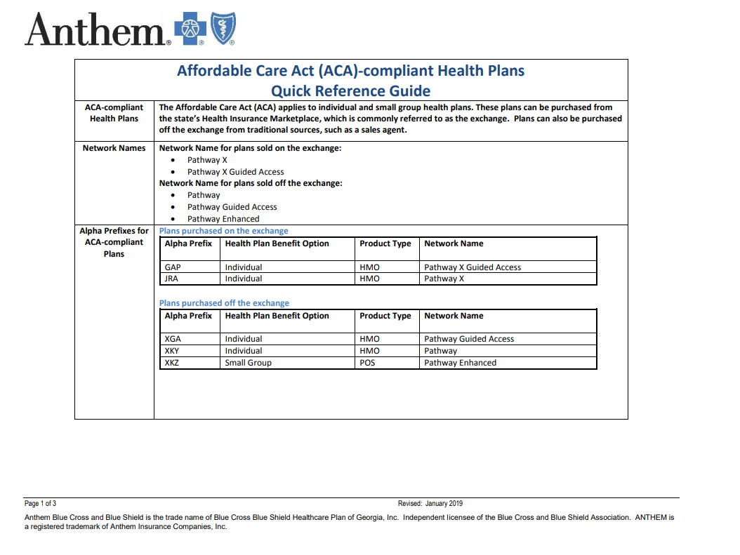 Anthem Plans And Agent Resources Quick Reference Guide ...